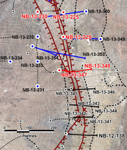 Figure 1: Location of Yellowjacket drill holes. Red collars and traces indicate holes reported in this press release. Blue indicates assays are pending. Significant mineralized faults are shown in dark red. For a more general location of Yellowjacket see Figure 2. (CNW Group/Corvus Gold Inc.)