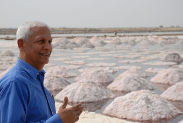 President of the Micronutrient Initiative M.G. Venkatesh Mannar surveys salt fields in India. Mannar was appointed an Officer of the Order of Canada on December 30, 2012 (CNW Group/Micronutrient Initiative)