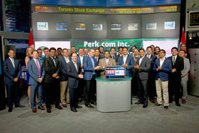 Ted Hastings, CEO, Perk.com Inc.(PER) joined Ungad Chadda, Senior Vice President, Toronto Stock Exchange to open the market. Perk provides a rewards platform targeting consumers primarily by rewards for people's every day mobile and internet activities. Perk offers Perk Points, a digital reward, which can be redeemed for gift cards and cash. Members can earn Perk Points through a wide variety of activities including shopping, watching videos, and playing social games. Perk.com Inc (PER) commenced trading on Toronto Stock Exchange on July 15, 2015. For more information please visit www.perk.com. (CNW Group/TMX Group Limited)