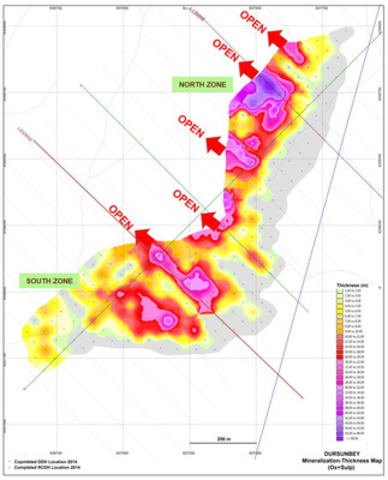 Figure 5: Plan Showing Dursunbey Mineralization Thickness Map (Oxide + Sulfide) as at August 2014 (CNW Group/Alacer Gold Corp.)