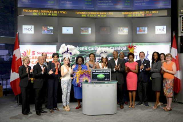 Denise H. Jackson, CEO, Festival Management Committee, Scotiabank Caribbean Carnival Toronto (SCCT) joined Suzanne Peters, Director, Business Communications & Strategic Programs, TMX Group to open the market to kick-off the 48th Toronto Carnival season. The 2015 SCCT season will take place over three weeks with the official launch on July 7th at David Pecaut Square and will culminate with Parade Day on August 1st. The Grand Parade is the signature event of the Festival when thousands of costumed masqueraders and steel pan bands celebrate from Exhibition Place through Toronto's Lakeshore Boulevard. For more information please visit www.torontocaribbeancarnival.com. (CNW Group/TMX Group Limited)