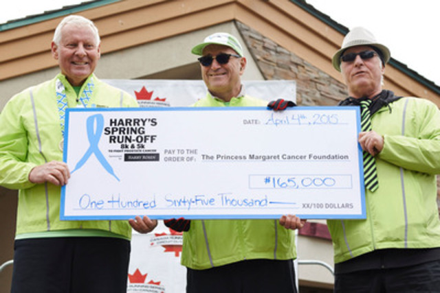 Larry Rosen, CEO of Harry Rosen, and Race Director Alan Brookes presents Paul Alofs, President & CEO of PMCF with the funds raised from Harry's Spring Run-Off to Conquer Prostate Cancer. (CNW Group/Harry Rosen Inc.)