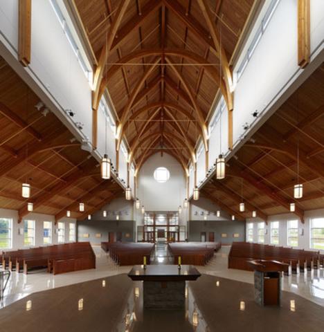Institutional-Commercial <$10M Wood Design Award Winner - Holy Spirit Church, Barrie, ON; Architect: Larkin Architect Ltd.; Engineer: Stantec (CNW Group/Ontario Wood WORKS!)