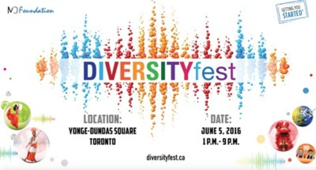 DiversityFest will celebrate Canadian multiculturalism at Yonge-Dundas Square on June 5, 2016. (CNW Group/Maple Diversity Communications)