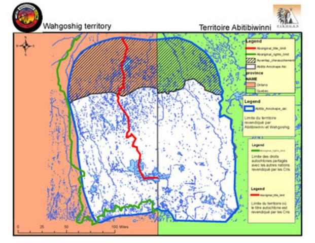 Territoire traditionnel de la Première Nation Abitibiwinni (ou territoire de la revendication AOT) (Groupe CNW/Premières Nations Abitibiwinni et Wahgoshig)