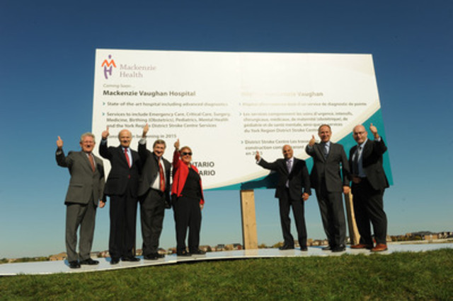 From left to right: Mayor David Barrow, Town of Richmond Hill, Reza Moridi, MPP for Richmond Hill, Chairman Bill Fisch, York Region, Dina Palozzi, Chair of the Mackenzie Health Board of Directors, Altaf Stationwala, President and CEO of Mackenzie Health, Mayor Maurizio Bevilacqua, City of Vaughan and Steven Del Duca, MPP for Vaughan together during the official planning, design and compliance team announcement for Mackenzie Vaughan Hospital on Oct. 9, 2013. (Photo credit: Rick Bell) (CNW Group/Infrastructure Ontario)