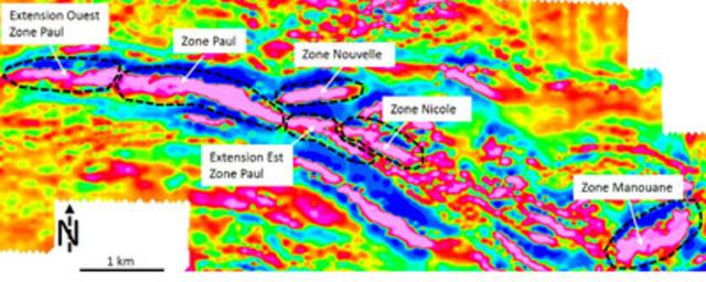 Levé aéromagnétique montrant les anomalies associées aux zones minéralisées. (Groupe CNW/Arianne Phosphate Inc.)