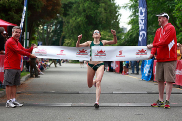 Krista Duchene from Brantford Ontario is the first female to cross the finish line Sunday, June 23 at the Scotiabank Vancouver Half-Marathon & 5K in a time of 1:10:52. The event raised $725,000 for 71 local charities through the Scotiabank Charity Challenge. (CNW Group/Scotiabank - Sponsorships & Donations)