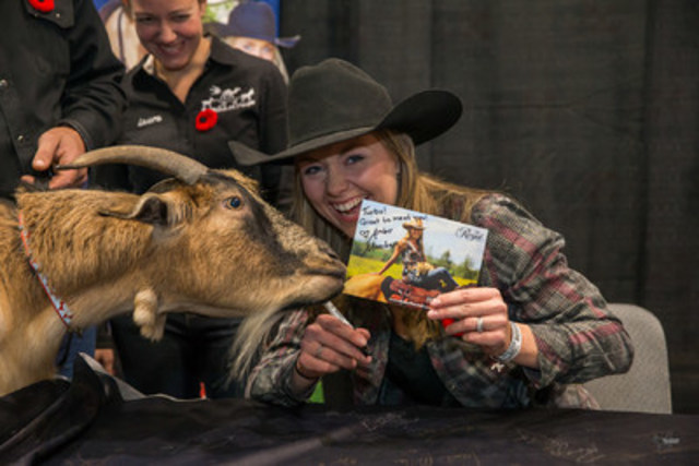 Amber Marshall and Turbo the goat (CNW Group/Royal Agricultural Winter Fair)