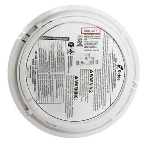 The date of manufacture can be found on an old smoke alarm's bottom or side. Replace any smoke alarm older than 10 years to ensure your family's safety (CNW Group/Kidde Canada)