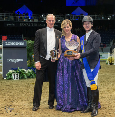 Mclain Ward of the United States was awarded the Leading International Rider Award by Royal Horse Show Chairman Peter Cullen, accompanied by Claire Salisbury, following four victories over five days of tough competition at the 2015 Royal Horse Show®. (CNW Group/Royal Agricultural Winter Fair)