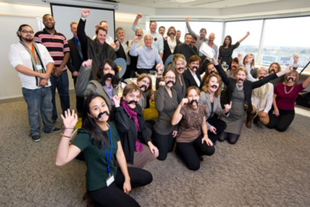 Sanofi Canada is participating in Movember. Throughout November, several Sanofi employees from the Laval, Quebec office will grow a moustache to raise funds to fight prostate cancer. The photo shows the team, surrounded by supporters, just before getting shaved for this worthy cause. (CNW Group/Sanofi Canada)