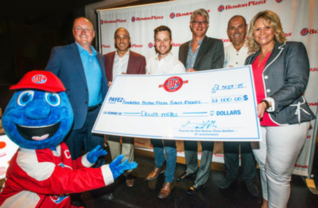 $12,000 raised for the Boston Pizza Foundation Future Prospects – Left to right; Alan Howie, Executive Vice President Operations and Development, Steve Silverstone, Executive Vice President of Marketing, Louis Morissette, Quebec spokesperson, Daniel Harvey, Regional Vice-President - Quebec, Jim Treliving, President and Founder and Cheryl Treliving, Executive Director of the Boston Pizza Foundation. (CNW Group/Boston Pizza Quebec)