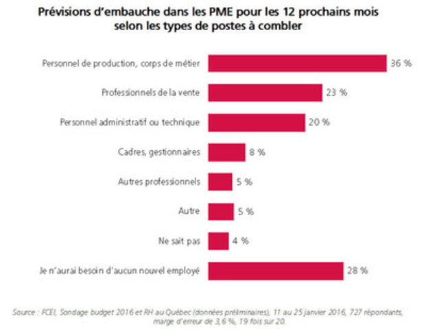 Prévisions d'embauche dans les PME pour les 12 prochains mois selon les types de postes à combler (Groupe CNW/Fédération canadienne de l'entreprise indépendante)
