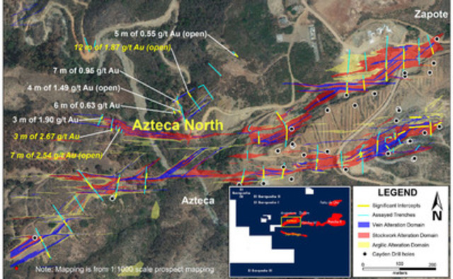 Figure 2 - Azteca North Results Map (CNW Group/Cayden Resources Inc.)
