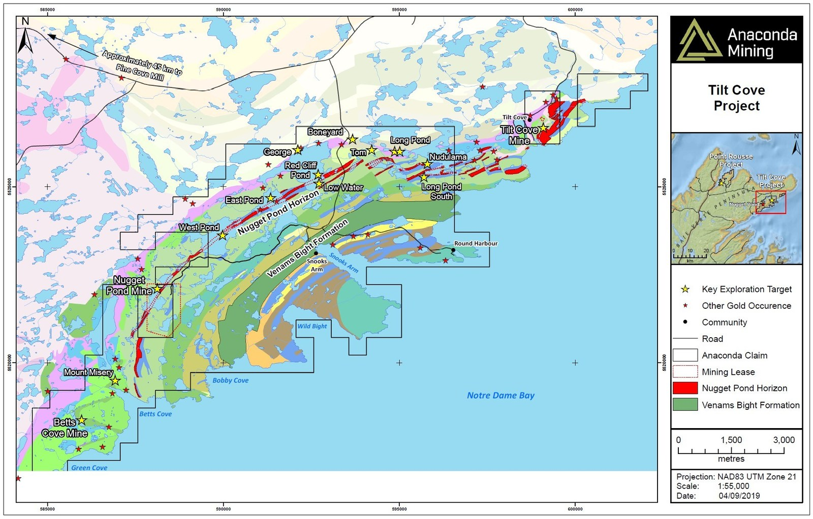 A geological map of the Tilt Cove Project in the Baie Verte Mining District of Newfoundland. The map highlights the Nugget Pond Horizon and the Venams Bight Formation as key host rocks to gold deposits at both the Tilt Cove and Point Rousse Projects as well as key exploration targets. The project is located approximately 45 km from the Company's operating Pine Cove mill and tailings storage facilities.