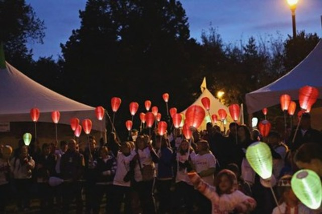 Hundreds expected to walk and carry illuminated lanterns at Kiwanis Memorial Park in support of Canadians affected by blood cancers during the annual Light The Night Walk. (CNW Group/The Leukemia & Lymphoma Society of Canada)