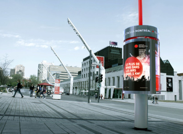 An Astral Out-of-Home static column in the Quartier des Spectacles (CNW Group/Bell Media) (CNW Group/Astral Out-of-Home)