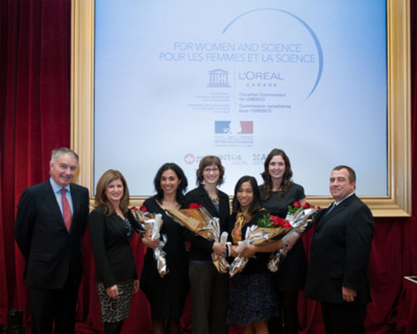 From left to right: Mr. Philippe Zeller, Ambassador of France to Canada, Honourable Rona Ambrose, Minister of Public Works and Government Services and Minister for Status of Women, Ms. Célia Jeronimo and Ms. Jennifer E. Bruin, recipients of the Research Excellence Fellowships, Ms. Emily Choy and Ms. Grace Murphy, recipients of the Canadian National Mentoring Fellowships, Mr. Javier San Juan, President and CEO, L'Oréal Canada. (CNW Group/L'Oréal Canada)