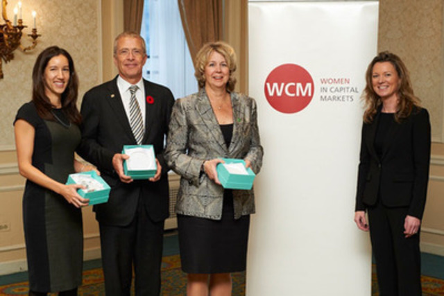 Jennifer Reynolds, President, Women in Capital Markets (WCM), congratulates winners at the annual WCM Awards Luncheon held today in Toronto. From left to right: Mari Jensen, Director, Scotiabank (Rising Star Award winner), Eric Tripp, President, BMO Capital Markets (Award for Leadership) and Martine Irman, Vice Chair, TD Securities and Senior VP, TD Bank Group (Award for Leadership). Photo: Kathryn Hollinrake (CNW Group/Women in Capital Markets (WCM))