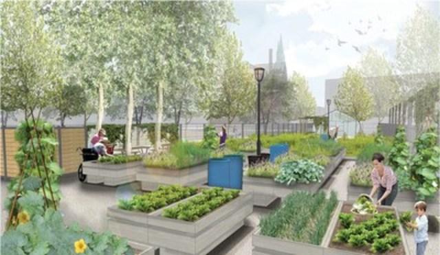 Perspective du jardin et de la serre communautaires du parc Walter-Stewart/©Arrondissement de Ville-Marie (Groupe CNW/Ville de Montréal - Arrondissement de Ville-Marie)