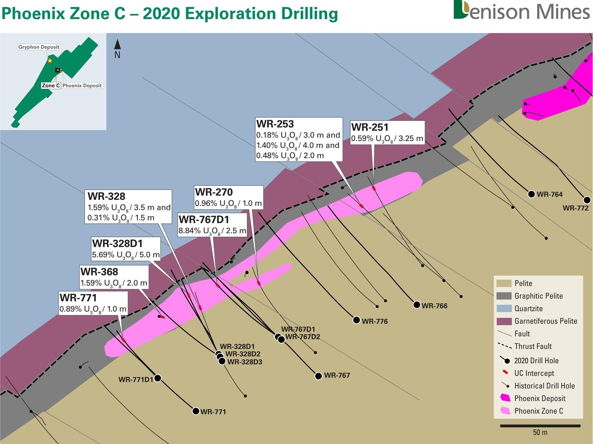 Figure 2 - Phoenix Zone C – 2020 Exploration Drilling (CNW Group/Denison Mines Corp.)