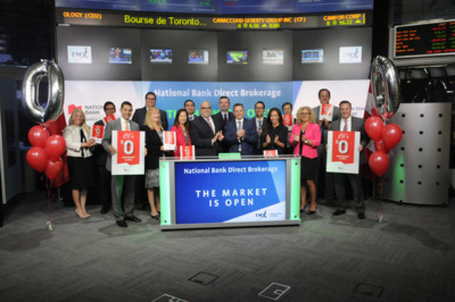 "Laurent Blanchard, National Bank Direct Brokerage President and Tarek Naguib, Vice-President of Personal Banking, Ontario, National Bank (NA) joined Dani Lipkin, Business Development, Exchange Traded Funds, Closed-End Funds, and Structured Notes, TMX Group to open the market. National Bank Direct Brokerage offers brokerage services to self-directed investors. National Bank Direct Brokerage is a subsidiary of National Bank and has branches in most Canadian provinces as well as representative offices, subsidiaries and partnerships, through which it serves clients globally. National Bank Direct Brokerage has launched ""ETF commissions are history"" allowing investors to trade Canadian exchange-traded funds, with no commission fees. For more information, please visit  http://nbdb.ca/en/pricing/commission-fees/ (CNW Group/TMX Group Limited)"