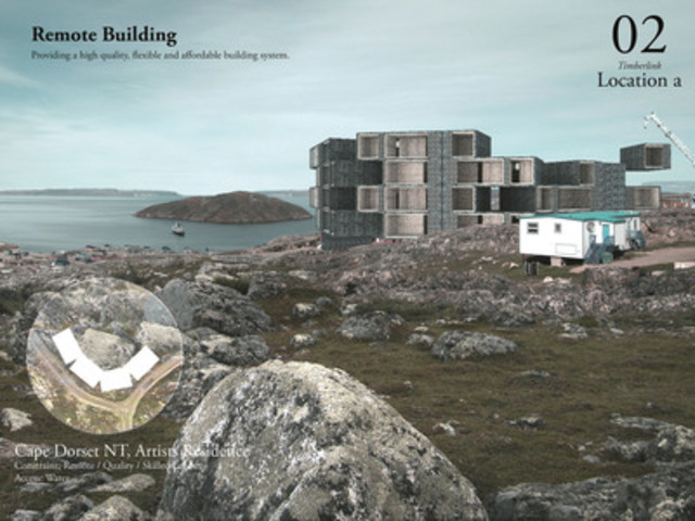 'Timber-Link: Interlocking panelized timber building system' Next Generation prize-winning project entry rendering for Cape Dorset, Nunavut, located high in the Canadian North from Jonathan Enns, Enns Design/solidoperations, Canada (CNW Group/Holcim Canada Inc.)