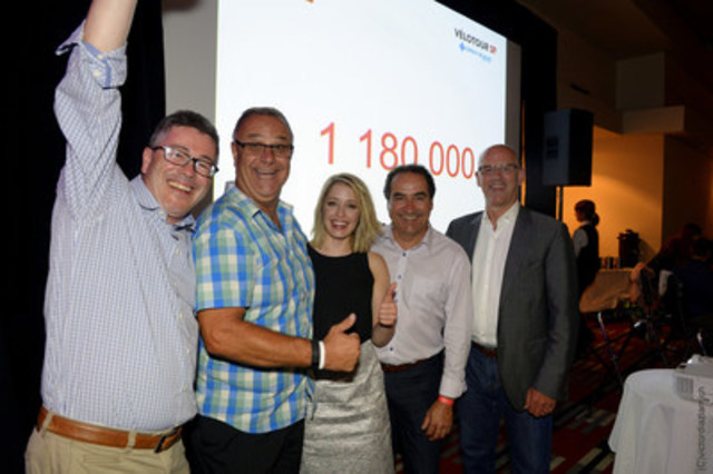 Saturday night, the MS Society of Canada, Quebec Division, announced that $1,180,000 were raised for the Medavie Blue Cross MS Bike! (CNW Group/Multiple Sclerosis Society of Canada)