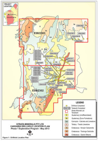 Phase 1 Exploration Program - May 2013 - Figure 1 - Cardabia Drillhole Location Plan (CNW Group/Strata Minerals Inc.)