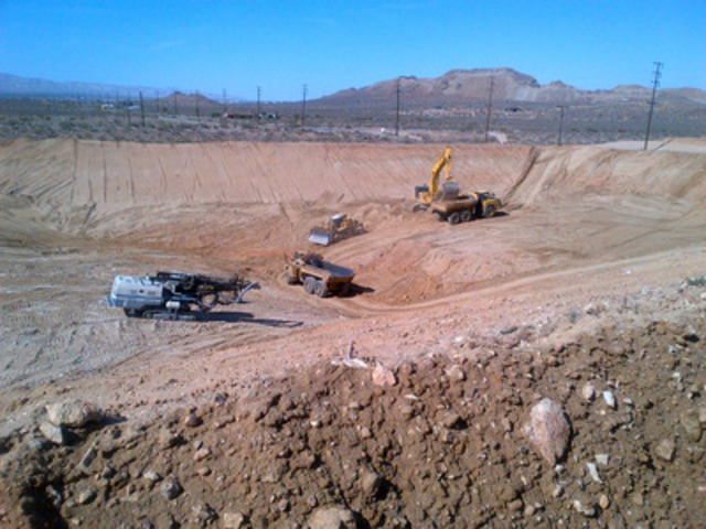 Excavation of the overflow pond, which is part of the heap leach facility, is under way and completion is expected in May. (CNW Group/Golden Queen Mining Co. Ltd.)