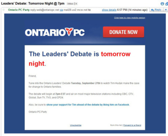 Hudak's team doesn't know when the debate starts. (CNW Group/Ontario Liberal Party)