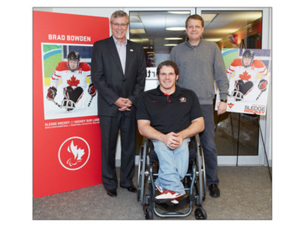 With 100 days to go before the start of the Sochi 2014 Winter Paralympic Games, paralympic athlete Brad Bowden joined Stephen Wetmore (CEO of Canadian Tire Corporation) and Michael Medline (President of Canadian Tire Corporation) at an employee celebration in Toronto. (CNW Group/CANADIAN TIRE CORPORATION, LIMITED)