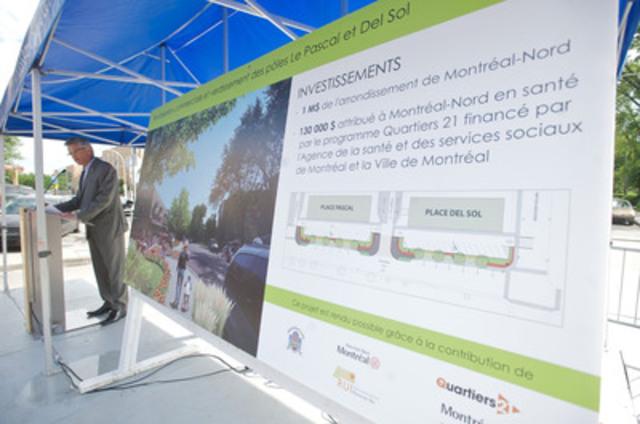 Le maire de Montréal-Nord, M. Gilles Deguire, présente le projet de revitalisation commerciale et de verdissement des pôles Del Sol et Le Pascal réalisé dans le cadre du programme Quartiers 21 (Groupe CNW/Arrondissement de Montréal-Nord (Ville de Montréal))