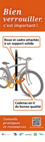 Insurance Bureau of Canada (IBC), the City of Montreal and its Tandem offices, the Service de Police de la Ville de Montréal (SPVM), Vélo-Québec and the Société de transport de Montréal (STM) joined forces and today launched a prevention campaign entitled Bien verrouiller, c'est important! (Lock it. It's important), targeting bicycle theft. (CNW Group/Committee on Bicycle Theft in Montreal) (CNW Group/Committee on Bicycle Theft)