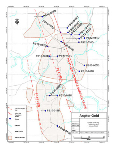 Phum Syarung Prospect drill section in PS12-013D: (CNW Group/Angkor Gold Corp.)