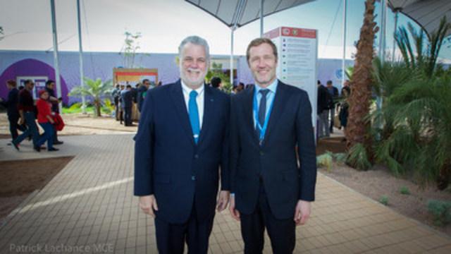 Marrakech, Maroc, le 17 novembre 2016. – Dans le cadre de la conférence de Marrakech sur le climat, le premier ministre, Philippe Couillard, a rencontré le ministre-président de la Wallonie, Paul Magnette. (Groupe CNW/Cabinet du premier ministre)