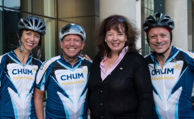 Ms. Jeanne-Évelyne Turgeon, Director of quality, evaluation, performance and strategic planning at the CHUM; Dr. Paul Perrotte, Uro-oncologist at the CHUM; Ms. Luce Moreau, President and Chief Executive Officer at the Fondation du CHUM; Dr. Pierre Laramée, Cardiologist at the CHUM. (CNW Group/Fondation du CHUM)
