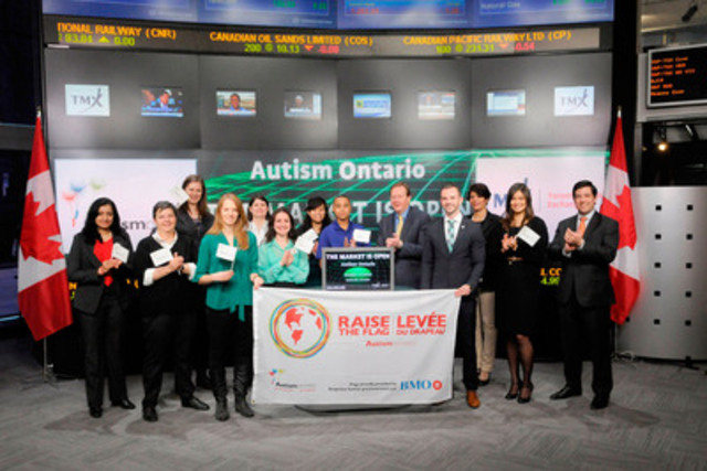 Shane Cunningham Boles, Chapter Development Coordinator, Autism Ontario joined Kevan Cowan, President, TSX Markets and Group Head of Equities, TMX Group to open the market to mark World Autism Awareness Day. To raise awareness each year on April 2nd over 350 municipalities and 300 schools across Ontario will Raise the Flag. Autism spectrum disorder (ASD) is one of the most common developmental disabilities; today one in 94 Canadian children is diagnosed with an ASD. Autism Ontario is dedicated to increasing public awareness about the issues faced by individuals with autism, their families, and the professionals with whom they interact. Autism Ontario will Raise the Flag for World Autism Awareness Day on Thursday April 2 at Brampton City Hall at 12 noon. (CNW Group/TMX Group Limited)