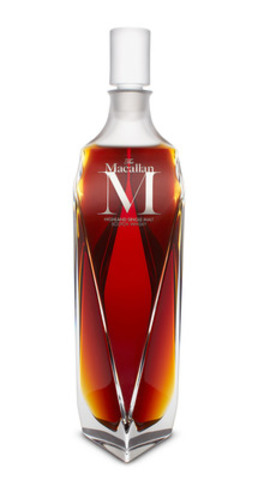 The Macallan M decanter. The Macallan M is a partnership between three masters: The Macallan, renowned creative director Fabien Baron and crystal masters Lalique. (CNW Group/BEAM Global Canada Inc.)
