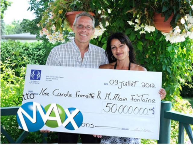 50 000 000 le gros lot du lotto max remport par un couple du centre du qu bec. Black Bedroom Furniture Sets. Home Design Ideas