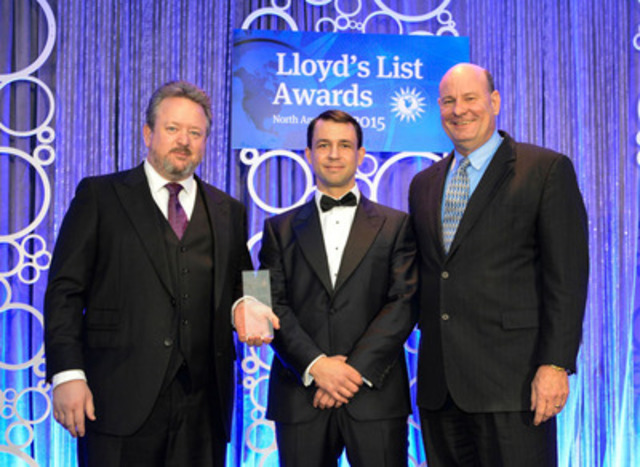 Alan Bowen (CEO) and James Davies (CFO) of Davie receive North American Shipyard of the Year award at the Lloyd's List North American Maritime Awards 2015 in Houston, Texas on 18th  February 2015 (CNW Group/Davie Shipbuilding)