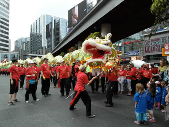 Two of the longest dragons in North America will dance at Yonge-Dundas Square on August 13 as part of the Fung Loy Kok Taoist Tai Chi™ International Awareness Day celebration from 9 am to 2 pm. Visit www.taoist.org for details. Better Balance through Taoist Tai Chi® Practice. (CNW Group/Fung Loy Kok Institute of Taoism)