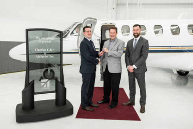 Citation CJ3+ delivery to AirSprint Inc. from left to right: James Elian, President and Chief Operating Officer, AirSprint, Inc., Mark Gardner, Regional Sales Director, Textron Aviation, and Scott Wenz, Vice President, Sales and Marketing, AirSprint Inc. (CNW Group/AirSprint Inc.)
