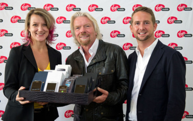 (L-R) Jocelyn Helland, manager of the Broadway Youth Resource Centre (BYRC), Sir Richard Branson, founder of the Virgin Group, and Andrew Bridge, managing director, Virgin Mobile Canada together launched a new RE*Generation pilot program, Phones For Change, today in Vancouver. The program, initiated by Virgin Mobile Canada for RE*Generation and Virgin Unite, the non-profit foundation of the Virgin Group, will work with both Vancouver's BYRC and Winnipeg's Resource Assistance for Youth (RaY), to give at-risk and homeless youth access to Virgin Mobile phones and plans - giving them a method of contact with employers, potential landlords, friends and support services. (Photo credit: Richard Lam) (CNW Group/Virgin Mobile Canada)