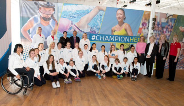Shining the Spotlight on Women's Sports: Minister of Transport, Hon. Lisa Raitt and Dairy Farmers of Canada president, Wally Smith, join top Canadian athletes and young fans to launch the new Fuelling Women Champions program from Canada's dairy farmers. (CNW Group/Dairy Farmers of Canada (Corporate))