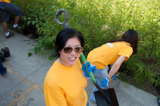 Maple Tam, Vice President, Relationship and Talent Management, Human Resources, CIBC Mellon, all set to dig up invasive species at Evergreen Brick Works in Toronto. (CNW Group/CIBC Mellon)