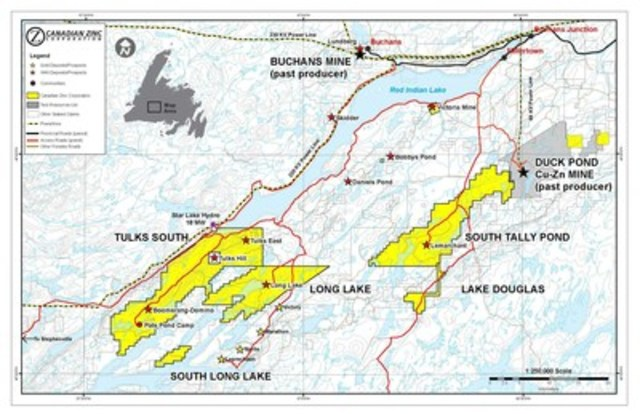 Location map showing Zn-Pb-Cu-Au-Ag volcanogenic massive sulphide deposits of central Newfoundland (CNW Group/Canadian Zinc Corporation)