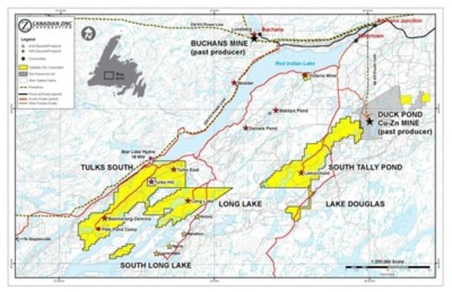 Location map showing Zn-Pb-Cu-Au-Ag volcanogenic massive sulphide deposits of central Newfoundland (CNW Group/Canadian Zinc Corporation)