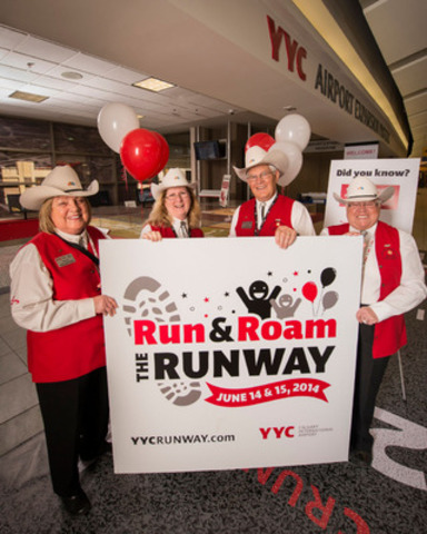 The Calgary Airport Authority launches its Run and Roam the Runway celebrations for June 14 and 15, 2014. Pictured (L to R) are Calgary Airport Authority White Hat Volunteers: Marion Benaschak, Michelle Moen, Peter Dueck and Rosemarie Doyle. (Photo Credit: Mark Shannon) (CNW Group/The Calgary Airport Authority)
